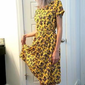 Floral midi modest short sleeve summer sundress